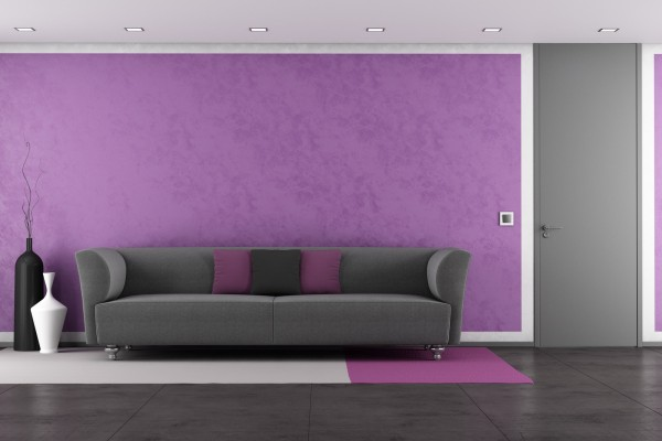 Purple lounge with modern couch and closed door - rendering